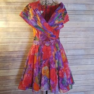 Cache 10 stunning floral lined belted dress